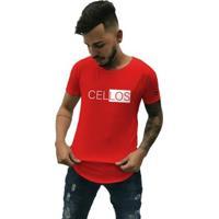 Camiseta Longline Cellos Half Box Premium Masculina - Masculino-Vermelho