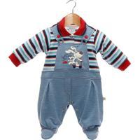 Macacão Longo Beth Bebê Jardineira Azul Jeans