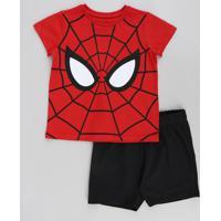 Conjunto Infantil Homem Aranha De Camiseta Manga Curta Vermelha + Bermuda Em Moletom Preto