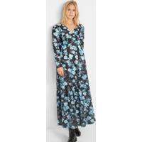 Vestido Longo Floral Floral Azul