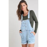 Jardineira Jeans Feminina Com Barra Dobrada Azul Claro