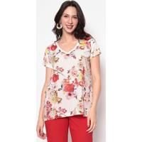 Blusa Floral Com Recortes- Branca & Rosa- Nectarinanectarina