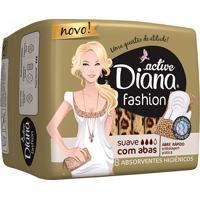 Absorvente Diana Active Fashion Suave Com Abas 8 Unidades