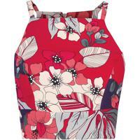 Top Cropped Decote Halter Neck Floral