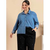 Camisa Jeans Plus Size Azul Com Botões