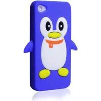 Capa Case Para Iphone 4/4S Silicone Pinguim Azul Escuro