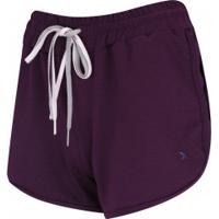 Shorts Oxer Recorte Lateral - Feminino - Roxo Escuro