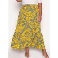 Saia Almaria Plus Size Kayla Novara Estampado Azul/Amarelo Azul