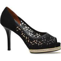 Sapato Peep Toe Vizzano - Feminino-Preto