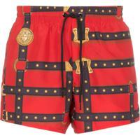 Versace Harness Print Swim Shorts - Vermelho