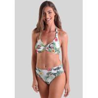 Conjunto De Biquíni Sunquíni Praaiah Sem Bojo Flores De Hibisco - Feminino-Branco+Verde