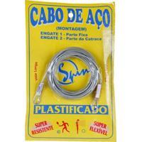 Cabo De Aço Spin Galvanizado E Plastificado - Para Rede De Tênis - Unissex-Cinza