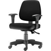 Cadeira Job Com Bracos Assento Courino Base Rodizio Metalico Preto - 54577 - Sun House
