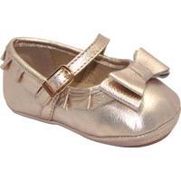 Sapato Boneca Em Couro Com Laã§O Duplo- Dourada- Babykimey