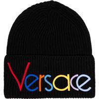 Versace Gorro Com Logo Bordado Preto