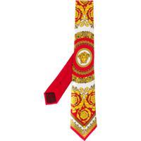 Versace Gravata Com Estampa Barroca - Vermelho
