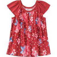 Blusa Floral Com Recortes - Vermelho Escuro & Rosa -Malwee