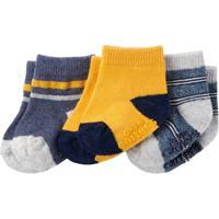 Kit Infantil Com 3 Meias Carter'S Masculino - Masculino-Amarelo