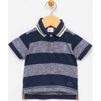 Camiseta Infantil Gola Polo Com Bordado - Tam 0 A 18 Meses