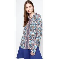 Camisa Floral - Azul & Branca- Ahaaha