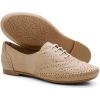 Sapato Oxford Feminino Em Couro Bege 15360