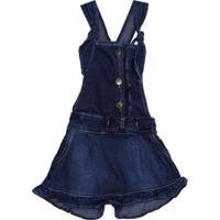 Macacão Jeans Infantil Para Menina - Azul