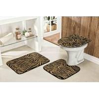 Jogo De Tapete Para Banheiro Safari Standard 3 Peças Tigre