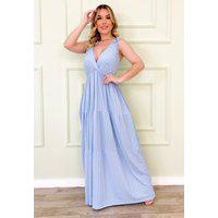 Vestido Longo De Alça Saia 3 Marias Azul Bebê Ref. L1L