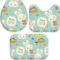 Jogo Tapetes Love Decor Wevans Para Banheiro Páscoa Happy Easter Azul