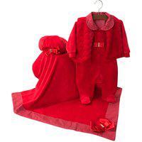 Saída De Maternidade Sônia Enxovais Menina Giulia Com Manta Vermelha