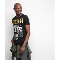 Camiseta Acostamento Rock Edition Nirvana Masculina - Masculino-Preto