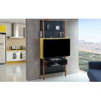 Painel Para Tv Preto Com Amarelo - Painel Tv Sala - Estante Para Tv Até 42 Polegadas Karl Woodinn - 99,8X25,5X180 Cm