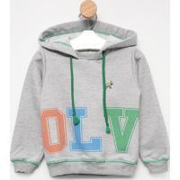 "Blusã£O ""Olv"" Com Capuz - Cinza & Verde- Oliveroliver"