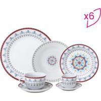 Aparelho De Jantar- Branco & Vermelho- 42Pçs- Rorojemac