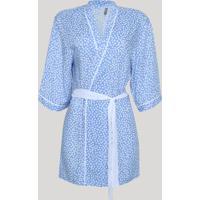 Robe Feminino Estampado De Poá Manga 3/4 Azul Claro