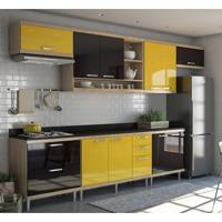 Cozinha Compacta Villa 10 Pt 5 Gv Argila, Preto E Amarelo