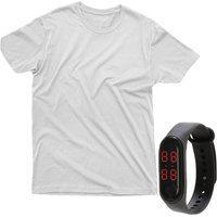 Kit Camiseta E Relogio 100% Algodão Branco