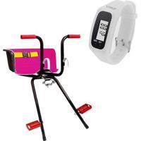 Cadeirinha Infantil Dianteira Rosa Super + Relógio Pedômetro Liveup - Unissex