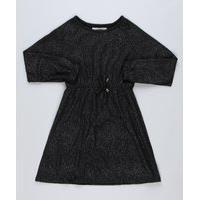 Vestido De Tricô Infantil Com Brilho Manga Longa Preto