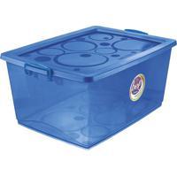 Caixa Organizadora Com Trava- Azul- 30,5X63X41Cmordene