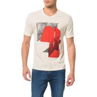 Camiseta Slim Calvin Klein Colagem Mescla - Xgg