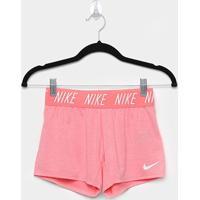 Short Infantil Nike G Dry Trophy Feminino - Feminino-Rosa+Branco