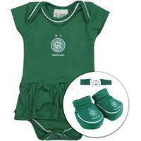 6b03a3c491 Kit De Uniforme De Futebol Do Guarani Para Bebê  Body + Pantufa + Lacinho  Feminino