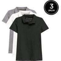 Kit De 3 Camisas Polo De Várias Cores Feminino - Feminino-Preto+Branco