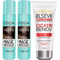 Kit 2 Corretivo Capilar Magic Retouch Castanho Escuro 1 Leave-In Elseve Cicatri Renov 50Ml - Unissex-Incolor