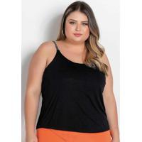 Blusa Preta Com Alças Estampadas Plus Size