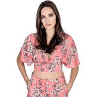 Blusa Cropped Estampada Colcci Feminino - Feminino-Rosa