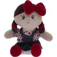 Boneca Alice - Bege & Vermelha- 30X20X11Cm - Zipbicho Molhado