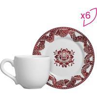 Conjunto De Xícaras De Café Arabesco- Branco & Vermelha