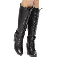 Bota Couro Cano Alto Shoestock Amarração - Feminino-Preto
